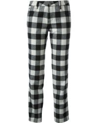 Ermanno Scervino Checked Cropped Slim Trousers - Lyst