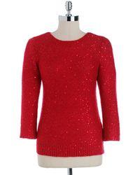 Anne Klein Crewneck Sequined Sweater - Lyst