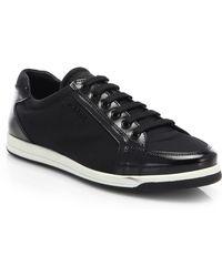 Prada Saffiano Patent Leather Sneakers - Lyst