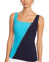 Ralph Lauren Color-Blocked Zip Dress - Lyst