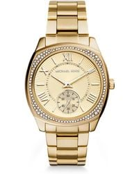 Michael Kors Bryn Glitz Goldtone Stainless Steel Bracelet Watch - Lyst