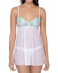 Hanky Panky Embroidered Babydoll With Garter - Lyst