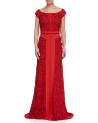 J. Mendel - Off-shoulder Lace Combo Gown - Lyst