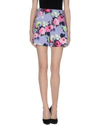 Carven Denim Shorts floral - Lyst