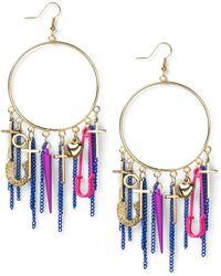 Material Girl - Goldtone Colorful Charm Hoop Earrings - Lyst