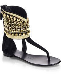 Giuseppe Zanotti Embellished Ankle-Cuff Thong Sandals - Lyst