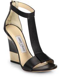 Jimmy Choo Maxy Leather T-Strap Platform Wedge Sandals black - Lyst