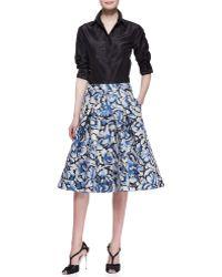 Carolina Herrera Flared Feather Floral Skirt - Lyst