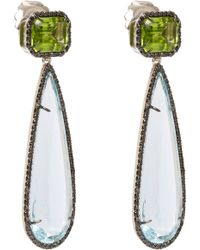 Sharon Khazzam | Black Diamondframed Aquamarine Peridot Doubledrop Earrings | Lyst