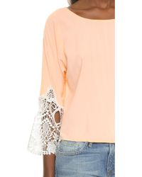Karen Zambos - Madelyn Crop Top - Peach - Lyst