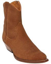 Saint Laurent - 40Mm Santiag Suede Cowboy Boots - Lyst