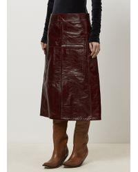 Vetements | Burgundy Tie Back Leather Skirt | Lyst
