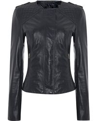 Linea Weekend Quilted Detail Leather Jacket - Lyst