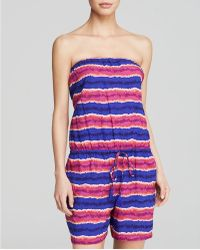 Tommy Bahama - Paint Stripe Strapless Romper Swim Cover Up - Lyst