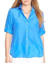 Ralph Lauren Lauren Plus Silk Utility Shirt - Lyst