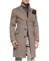 Brunello Cucinelli Single-Breasted Flannel Overcoat brown - Lyst