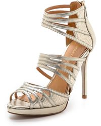 Badgley Mischka Fonda Metallic Strap Sandals - Platinum Gold - Lyst