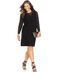 Spense Plus Size Longsleeve Illusion Velvet Dress - Lyst