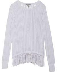 Cotton By Autumn Cashmere Cotton Fringe Crew Sweater white - Lyst