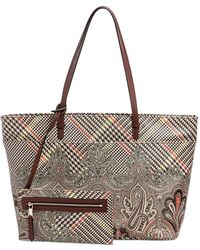 Etro Calcutta Printed Tote Bag brown - Lyst