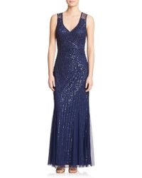 Aidan Mattox Sequin V-Neck Bridesmaid Gown blue - Lyst