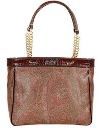 Etro Arnica Shopping Pelle Stampa Paisley Con Catena - Lyst