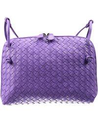 Bottega Veneta Clutch Shoulder Flat Square Woven purple - Lyst