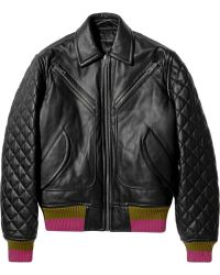 Jonathan Saunders | Marley Cashmeretrimmed Leather Bomber Jacket | Lyst