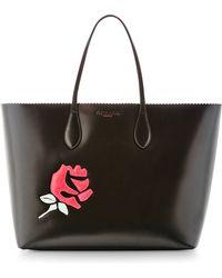Rochas Rose-Appliquéd Leather Tote - Lyst