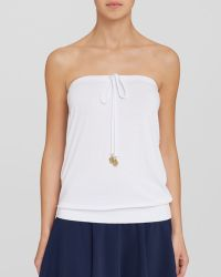 Macbeth Collection - White Blouson Coverup Tube Top Swim Cover Up - Lyst