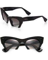 Miu Miu Semi-rim 50mm Cats-eye Sunglasses - Lyst