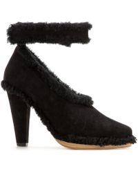 Chloé Suede Pumps with Shearling Trim - Lyst
