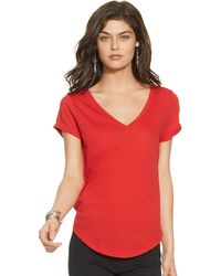 Ralph Lauren Cotton Jersey V-Neck Tee - Lyst