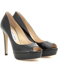 Jimmy Choo Dahlia Patent Leather Peep-Toe Pumps - Lyst
