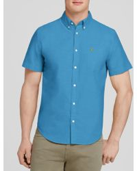 Lacoste Oxford Short Sleeve Button Down Shirt - Regular Fit blue - Lyst