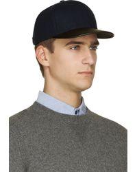 Rag & Bone Navy Wool and Leather Cap - Lyst