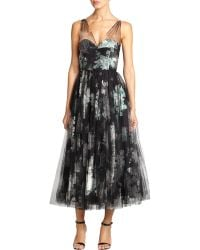 Milly Floral Tulle-Overlay Dress - Lyst