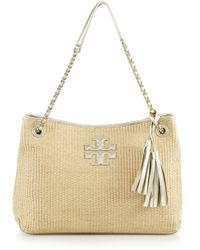 Tory Burch | Thea Woven Straw & Metallic Leather Tote | Lyst