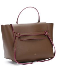 Celine Camel And Pink Leather Convertible Top Handle Tote - Lyst