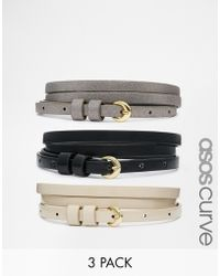 Asos Curve 3 Pack Super Skinny Waist And Hip Belt - Lyst
