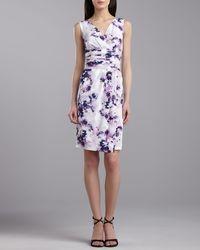 St. John Collection Irisprint Stretch Silk Vneck Dress - Lyst