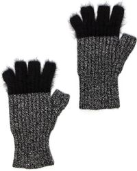 Autumn Cashmere Angora Tipped Fingerless Gloves - Lyst