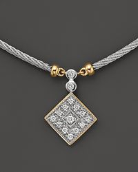 Charriol - Classique Square Necklace with Diamonds in 18 Kt Yellow Gold and Stainless Steel - Lyst