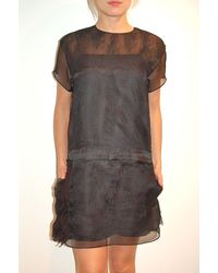 N°21 Black Chantilly Lace Short Sleeve Dress - Lyst