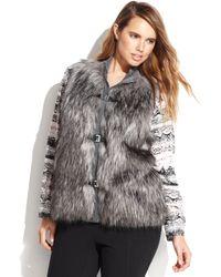 Calvin Klein Plus Size Buckled Fauxfur Vest - Lyst