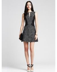 Banana Republic Tweed Lace Panel Fit-And-Flare Dress - Lyst