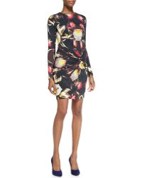 Ted Baker Petalprint Twisted Knot Sheath Dress Black - Lyst