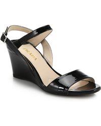 Prada Patent Leather Wedge Sandals - Lyst