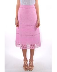 House of Holland Embroidery A-Line Midi Skirt pink - Lyst