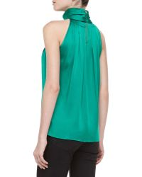 Michael Kors Sleeveless Charmeuse Turtleneck Emerald - Lyst